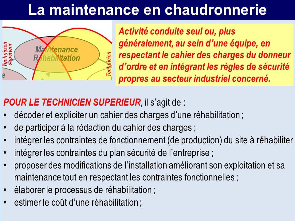MR La maintenance en chaudronnerie POUR LE TECHNICIEN SUPERIEUR, il sagit de : décoder et expliciter un cahier des charges dune réhabilitation ; de pa