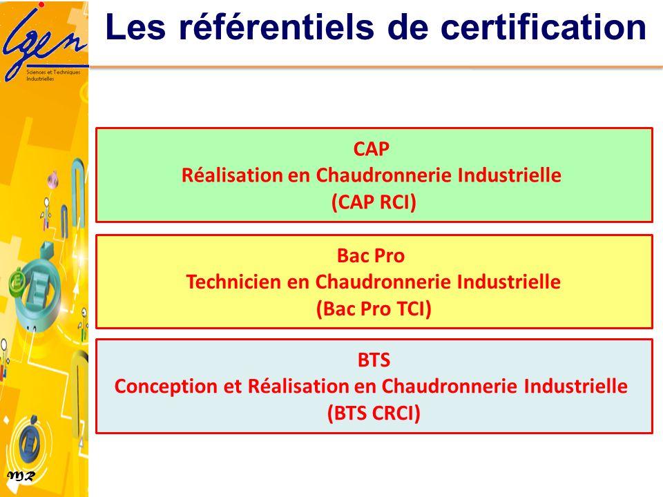 MR Les référentiels de certification CAP Réalisation en Chaudronnerie Industrielle (CAP RCI) Bac Pro Technicien en Chaudronnerie Industrielle (Bac Pro