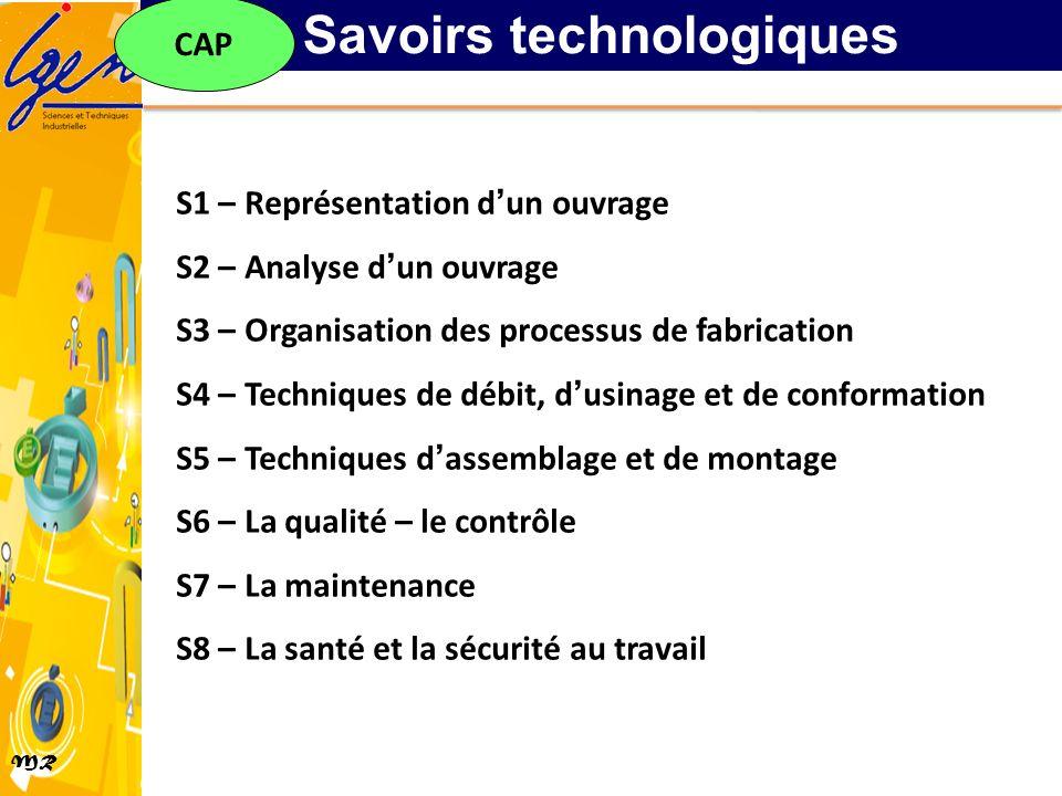 MR S1 – Représentation dun ouvrage S2 – Analyse dun ouvrage S3 – Organisation des processus de fabrication S4 – Techniques de débit, dusinage et de co