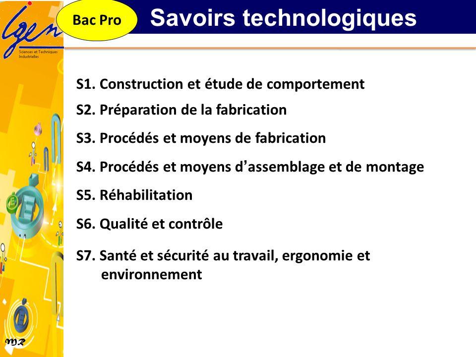 MR S1. Construction et étude de comportement S2. Préparation de la fabrication S3. Procédés et moyens de fabrication S4. Procédés et moyens dassemblag
