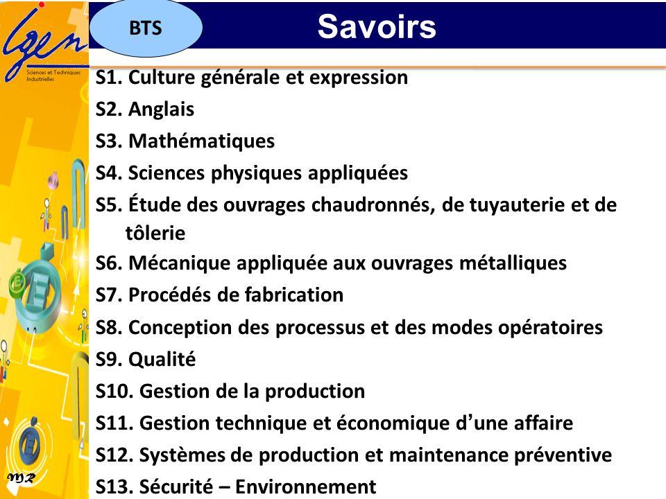 MR S1. Culture générale et expression S2. Anglais S3. Mathématiques S4. Sciences physiques appliquées S5. Étude des ouvrages chaudronnés, de tuyauteri