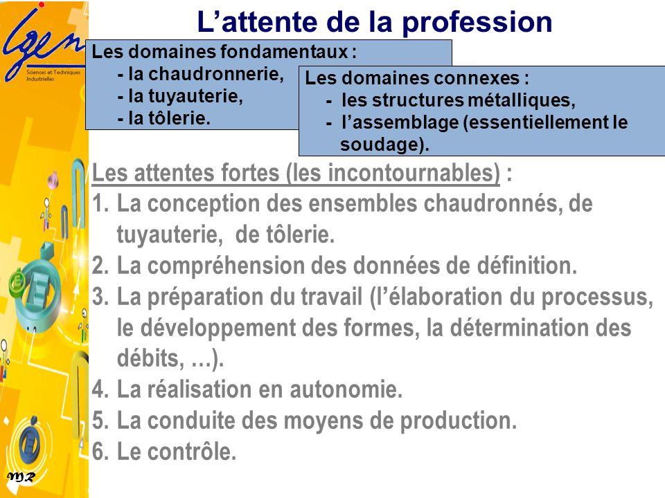 MR Les domaines fondamentaux : - la chaudronnerie, - la tuyauterie, - la tôlerie. Les domaines connexes : - les structures métalliques, - lassemblage