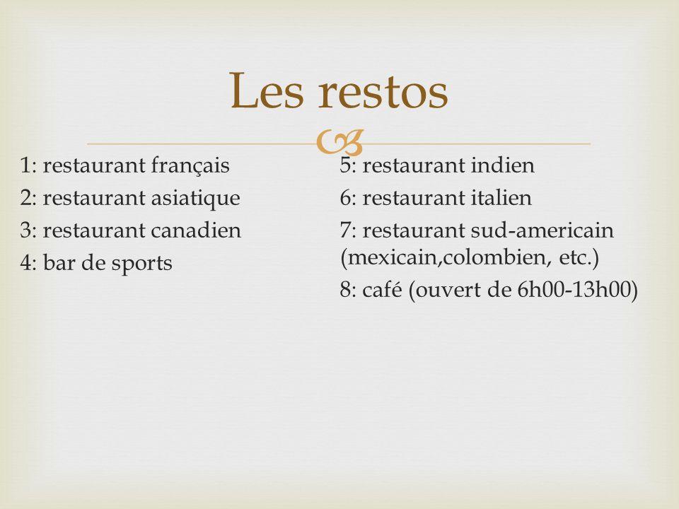 1: restaurant français 2: restaurant asiatique 3: restaurant canadien 4: bar de sports 5: restaurant indien 6: restaurant italien 7: restaurant sud-am