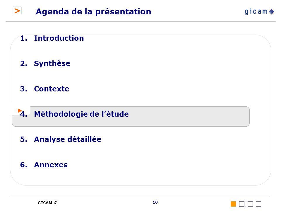 > GICAM © 10 Agenda de la présentation 1.Introduction 2.Synthèse 3.Contexte 4.Méthodologie de létude 5.Analyse détaillée 6.Annexes