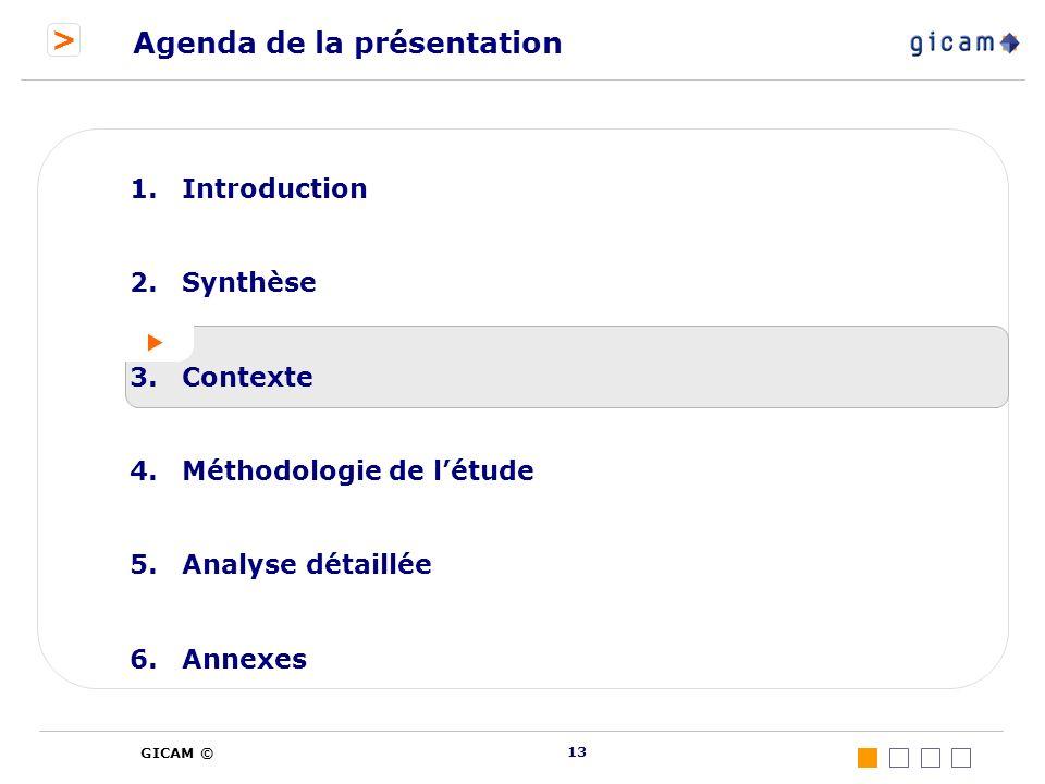 > GICAM © 13 Agenda de la présentation 1.Introduction 2.Synthèse 3.Contexte 4.Méthodologie de létude 5.Analyse détaillée 6.Annexes