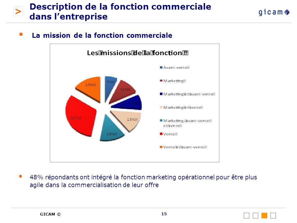 > GICAM © Description de la fonction commerciale dans lentreprise La mission de la fonction commerciale 48% répondants ont intégré la fonction marketing opérationnel pour être plus agile dans la commercialisation de leur offre 15
