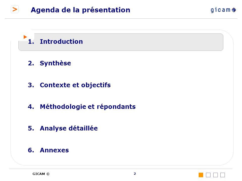 > GICAM © 2 Agenda de la présentation 1.Introduction 2.Synthèse 3.Contexte et objectifs 4.Méthodologie et répondants 5.Analyse détaillée 6.Annexes
