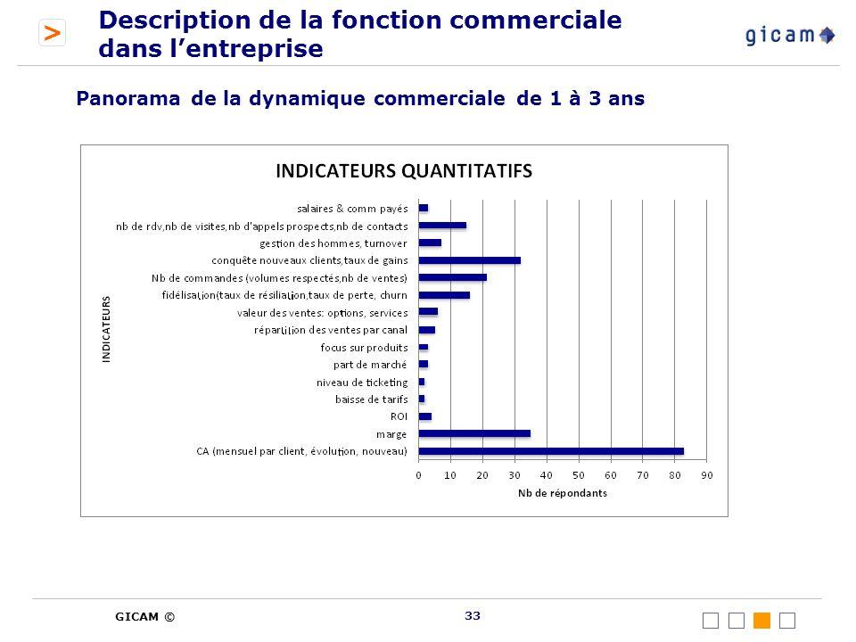 > GICAM © Description de la fonction commerciale dans lentreprise 33 Panorama de la dynamique commerciale de 1 à 3 ans