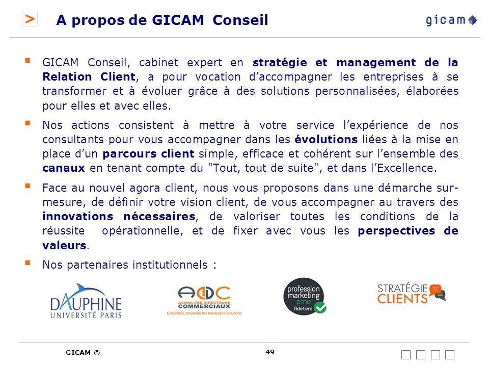 > GICAM © A propos de GICAM Conseil GICAM Conseil, cabinet expert en stratégie et management de la Relation Client, a pour vocation daccompagner les entreprises à se transformer et à évoluer grâce à des solutions personnalisées, élaborées pour elles et avec elles.