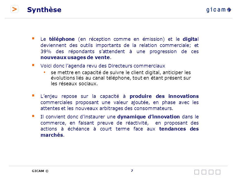 > GICAM © 8 Agenda de la présentation 1.Introduction 2.Synthèse 3.Contexte 4.Méthodologie et répondants 5.Analyse détaillée 6.Annexes