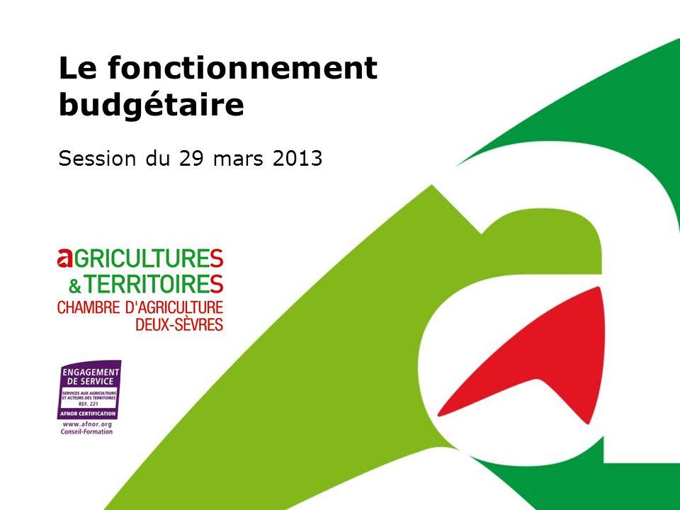 Le fonctionnement budgétaire Session du 29 mars 2013