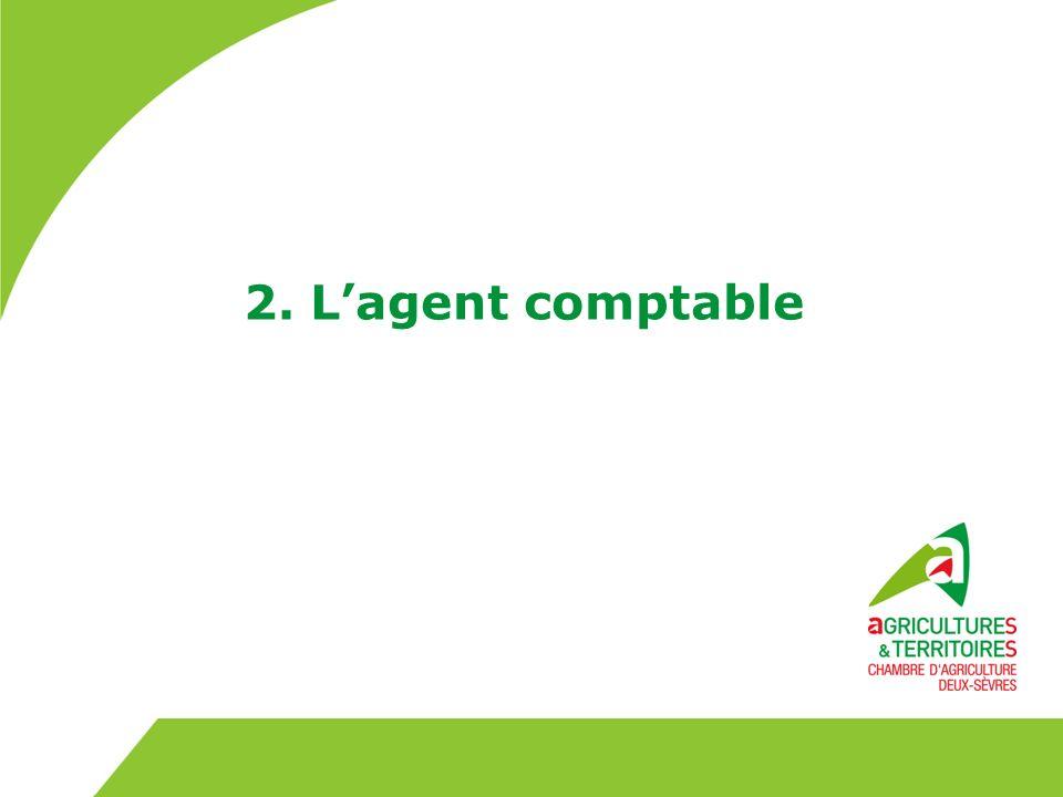 Lagent comptable –peut être un agent détaché du Trésor public –ou un agent du personnel administratif des Chambres dAgriculture Lagent comptable est chef de la comptabilité générale Les moyens en personnel et en matériel sont fournis à lagent comptable par létablissement 7