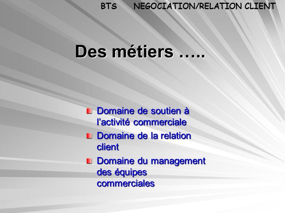 Des métiers ….. Domaine de soutien à lactivité commerciale Domaine de la relation client Domaine du management des équipes commerciales BTS NEGOCIATIO