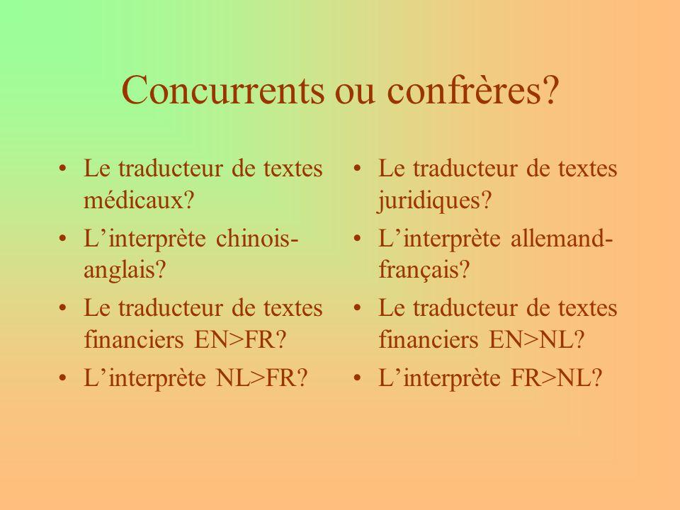 Concurrents ou confrères.Le traducteur de textes médicaux.