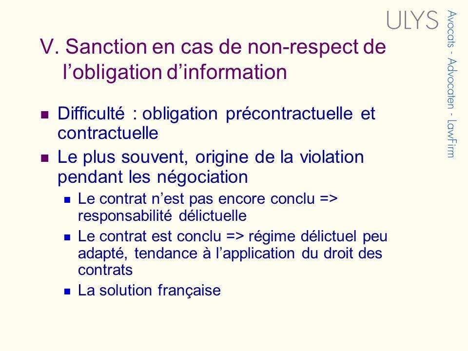 V. Sanction en cas de non-respect de lobligation dinformation Difficulté : obligation précontractuelle et contractuelle Le plus souvent, origine de la