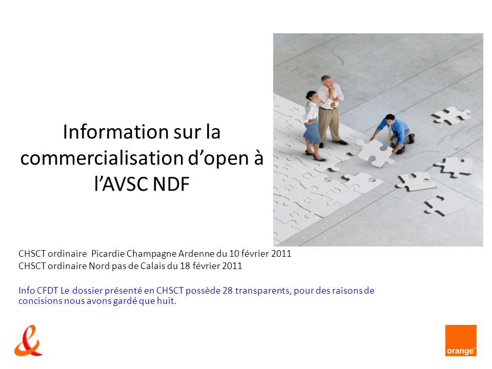 AVSC ndF – CHSCT NPC et Pica T1 2001 Lexpérimentation de la commercialisation dOpen en AVSC a fait ressortir la difficulté de former lensemble des conseillers 1014 à la totalité des offres et terminaux mobiles.