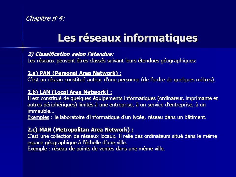 2.d) WAN (Wide Area Network) : Cest un réseau qui relie des réseaux locaux et métropolitains entre eux.