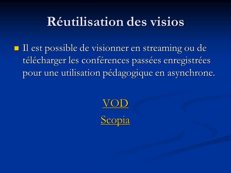 Réutilisation des visios Il est possible de visionner en streaming ou de télécharger les conférences passées enregistrées pour une utilisation pédagog