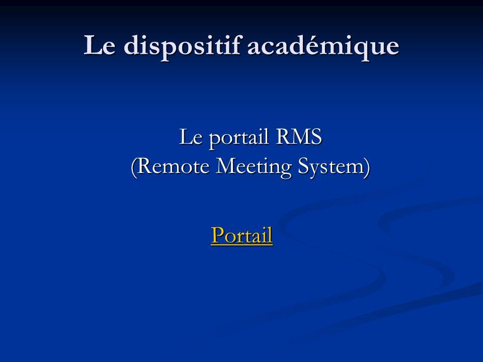 Le dispositif académique Le portail RMS (Remote Meeting System) Le portail RMS (Remote Meeting System) Portail