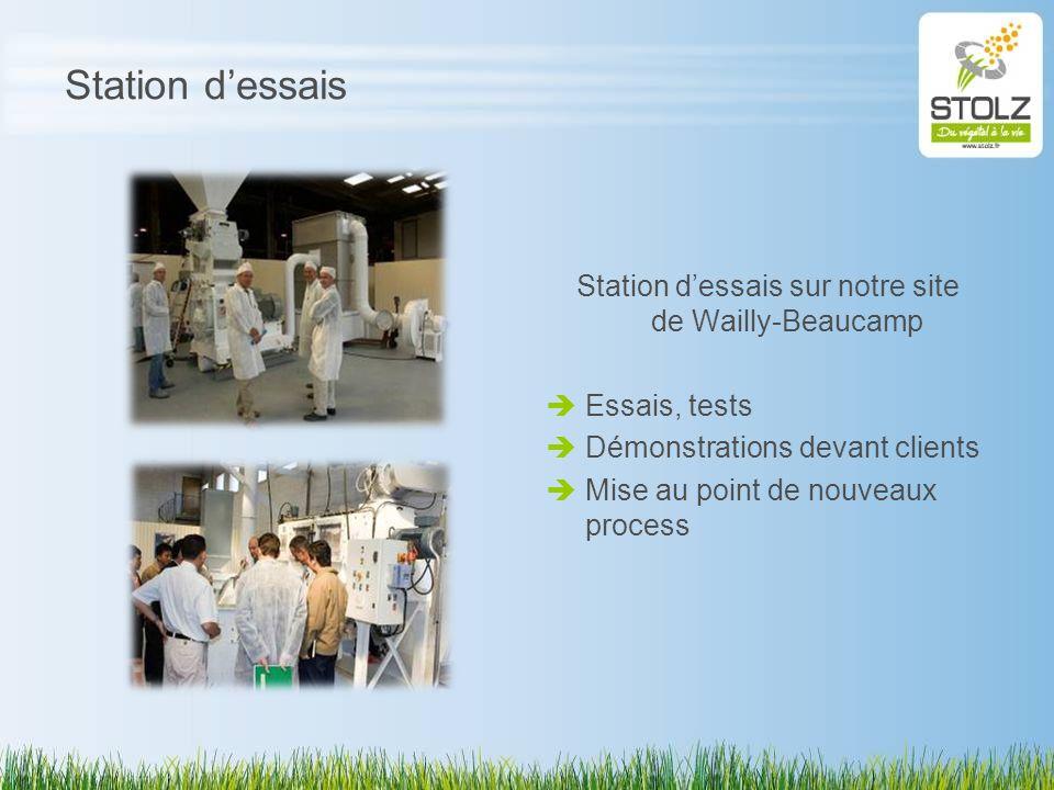 Station dessais Station dessais sur notre site de Wailly-Beaucamp Essais, tests Démonstrations devant clients Mise au point de nouveaux process