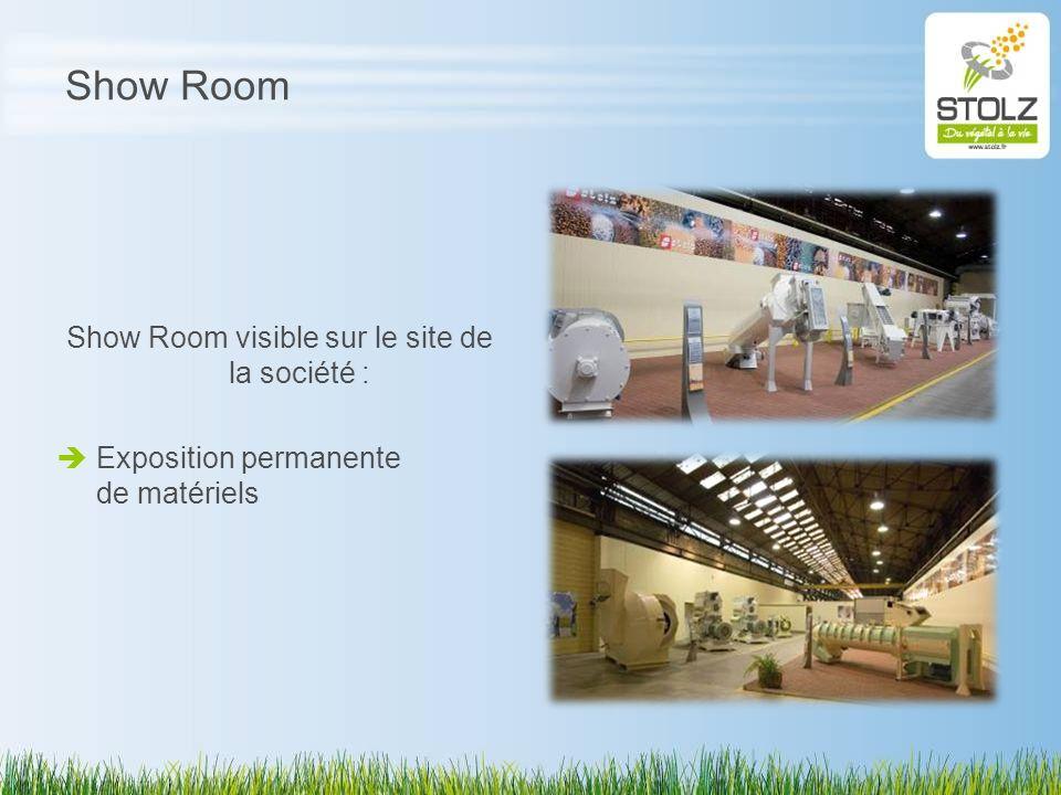 Show Room Show Room visible sur le site de la société : Exposition permanente de matériels
