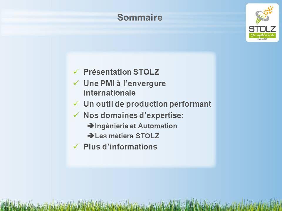 Sommaire Présentation STOLZ Une PMI à lenvergure internationale Un outil de production performant Nos domaines dexpertise: Ingénierie et Automation Le