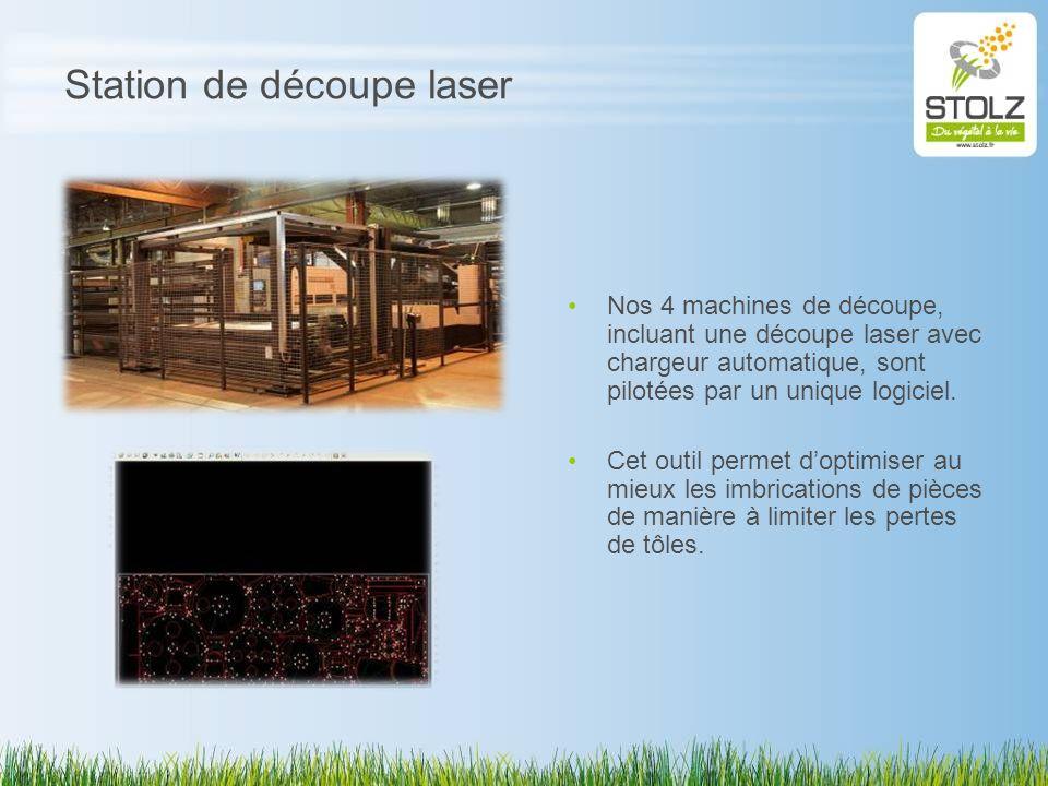 Station de découpe laser Nos 4 machines de découpe, incluant une découpe laser avec chargeur automatique, sont pilotées par un unique logiciel. Cet ou