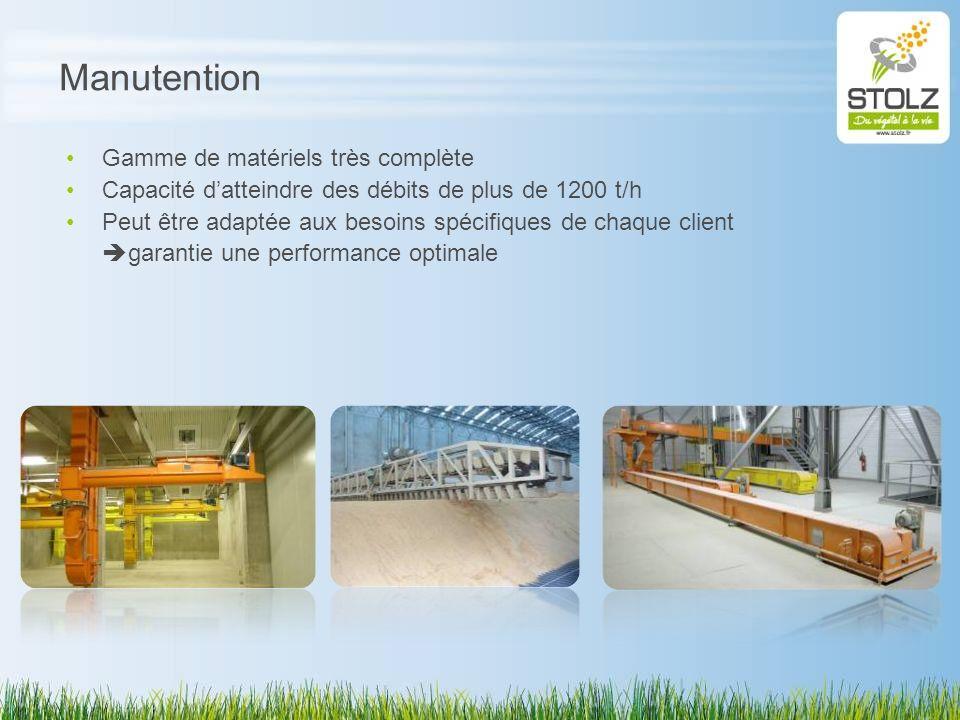 Manutention Gamme de matériels très complète Capacité datteindre des débits de plus de 1200 t/h Peut être adaptée aux besoins spécifiques de chaque cl