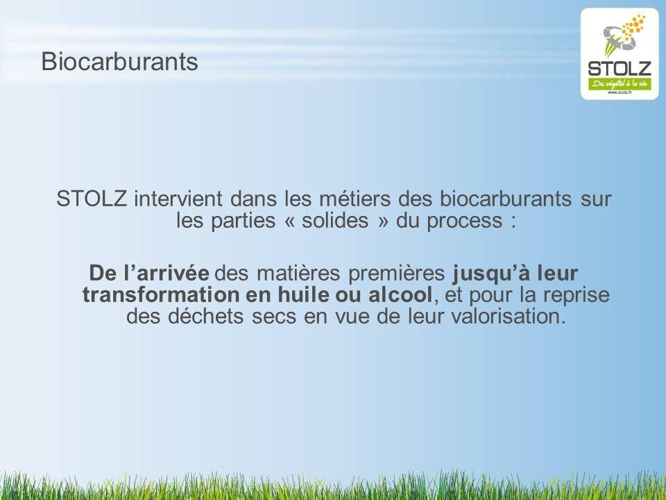Biocarburants STOLZ intervient dans les métiers des biocarburants sur les parties « solides » du process : De larrivée des matières premières jusquà l