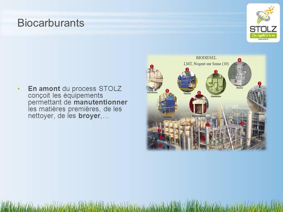 Biocarburants En amont du process STOLZ conçoit les équipements permettant de manutentionner les matières premières, de les nettoyer, de les broyer,…