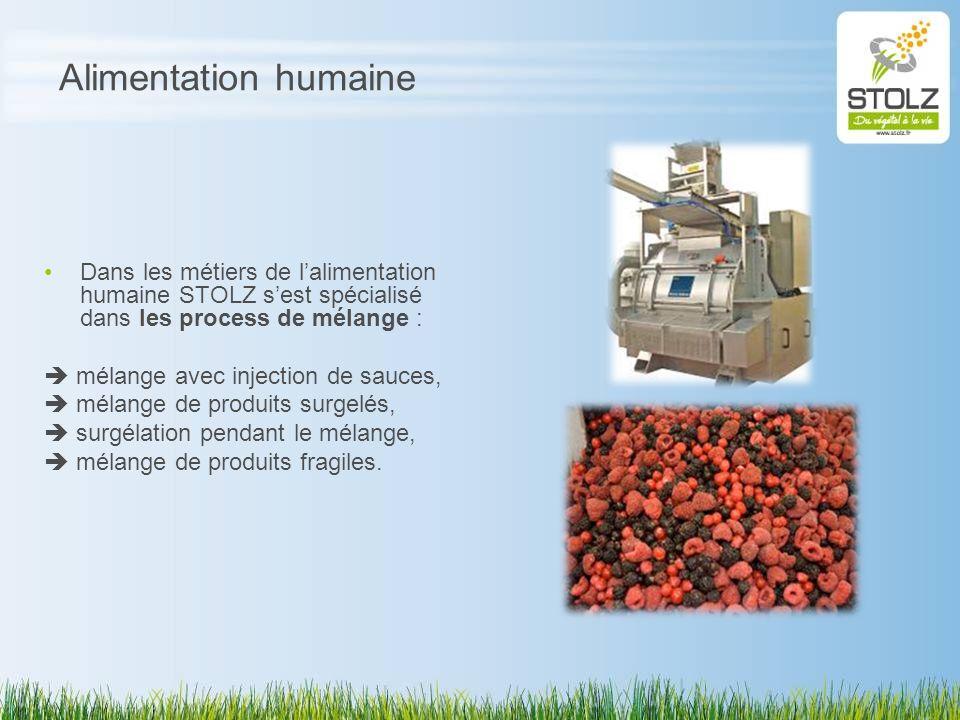 Alimentation humaine Dans les métiers de lalimentation humaine STOLZ sest spécialisé dans les process de mélange : mélange avec injection de sauces, m