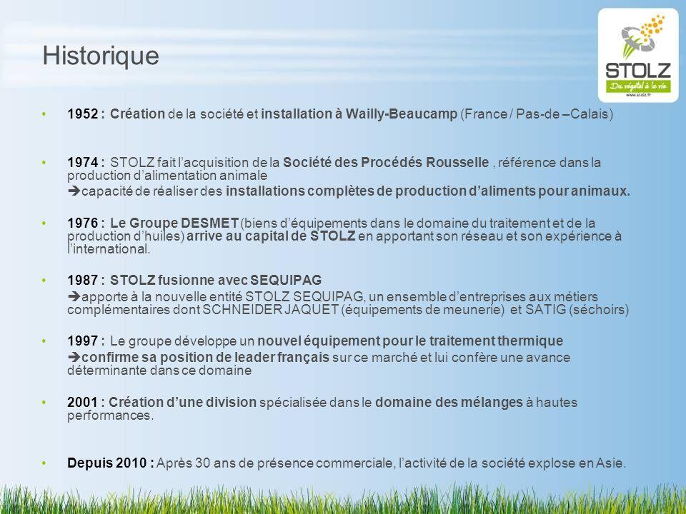 Historique 1952 : Création de la société et installation à Wailly-Beaucamp (France / Pas-de –Calais) 1974 :STOLZ fait lacquisition de la Société des P