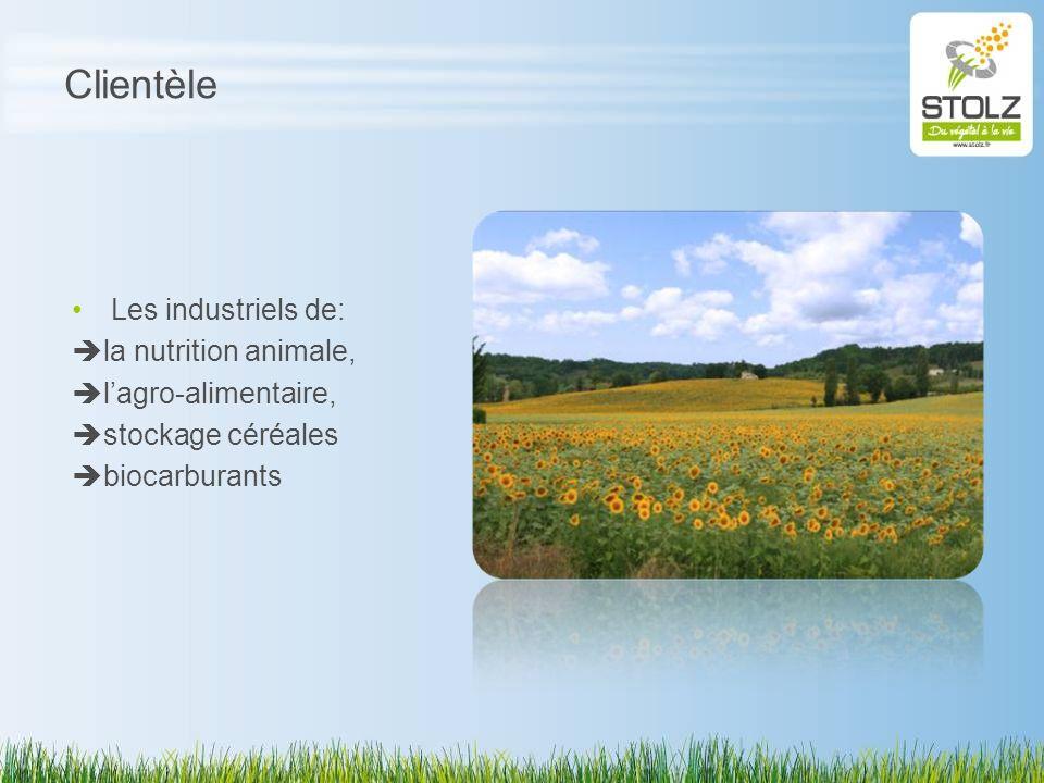 Clientèle Les industriels de: la nutrition animale, lagro-alimentaire, stockage céréales biocarburants