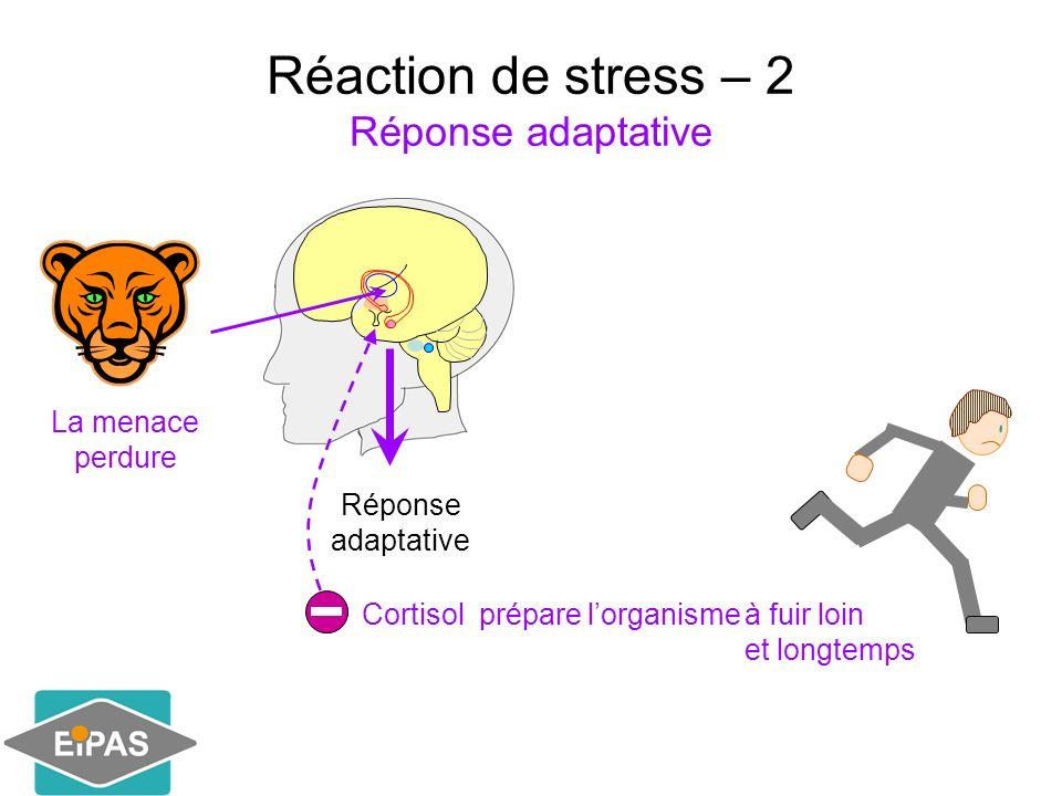 Réaction de stress – 2 Réponse adaptative La menace perdure à fuir loin et longtemps Réponse adaptative Cortisol prépare lorganisme