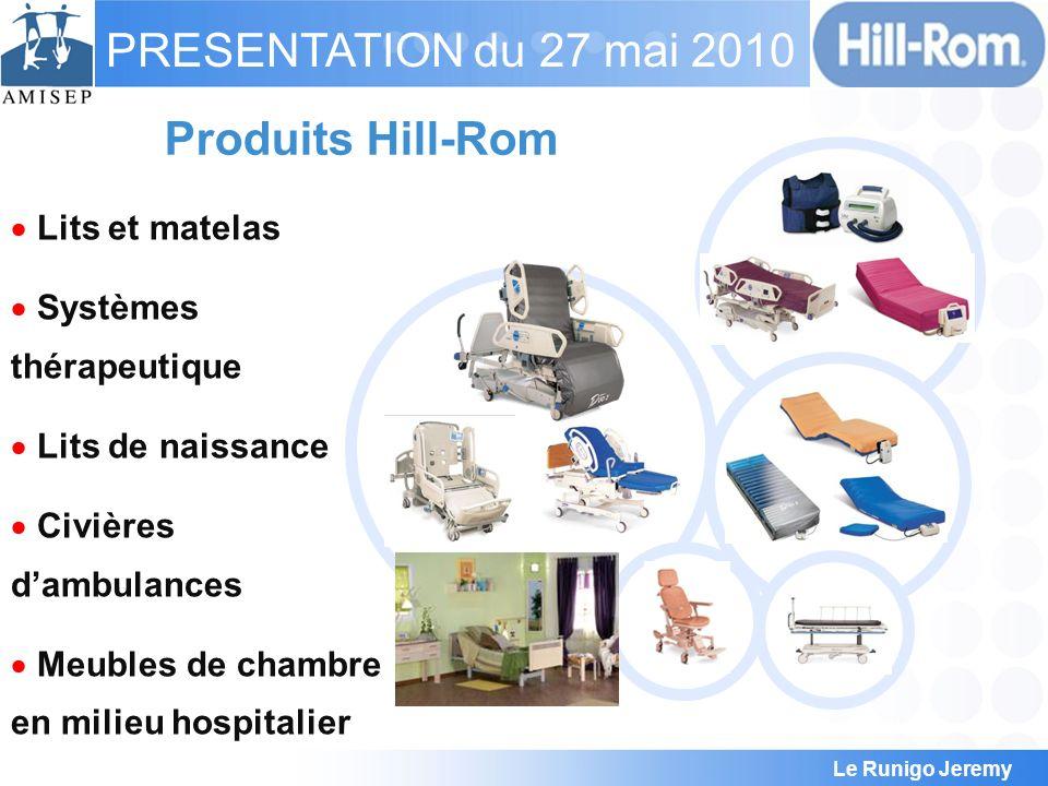 Le Runigo Jeremy PRESENTATION du 27 mai 2010 Hill-Rom en Europe 1300 employés