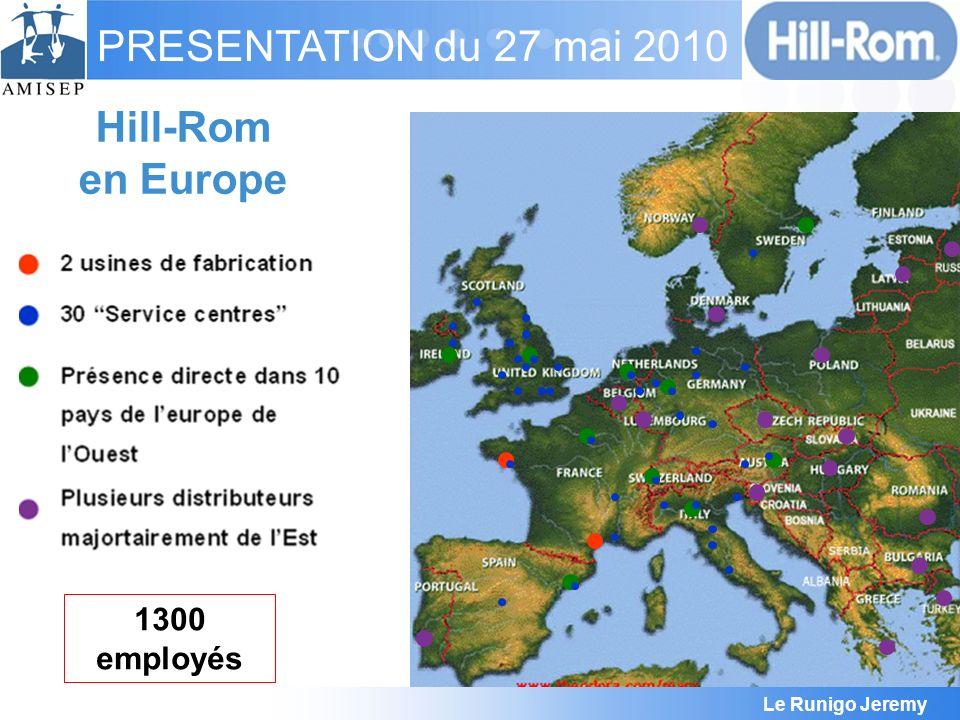 Le Runigo Jeremy PRESENTATION du 27 mai 2010 45 000 m² 500 Personnes 55 Personnes R&D 25 000 Lits/an 75 000 pièces mobilier / an Hill-Rom Pluvigner FRANCE
