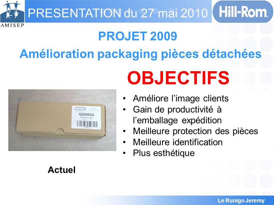 Le Runigo Jeremy PRESENTATION du 27 mai 2010 PROJET 2009 Amélioration packaging pièces détachées Actuel Pièces poussiéreuses Détérioration des pièces