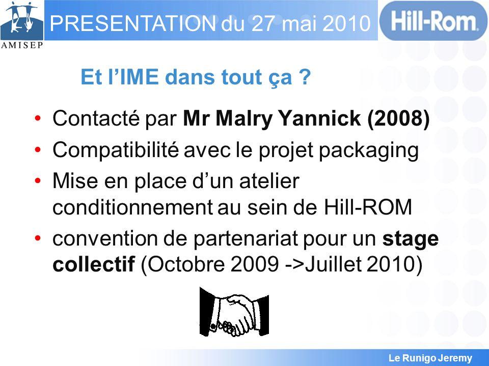 Le Runigo Jeremy PRESENTATION du 27 mai 2010 Et lIME dans tout ça ? Contacté par Mr Malry Yannick (2008) Compatibilité avec le projet packaging Mise e