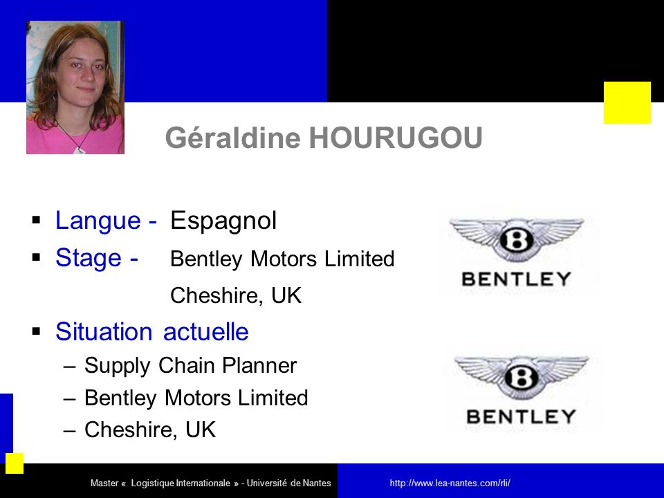 Géraldine HOURUGOU Langue - Espagnol Stage - Bentley Motors Limited Cheshire, UK Situation actuelle –Supply Chain Planner –Bentley Motors Limited –Che