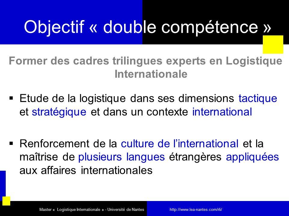 Objectif « double compétence » Former des cadres trilingues experts en Logistique Internationale Etude de la logistique dans ses dimensions tactique e