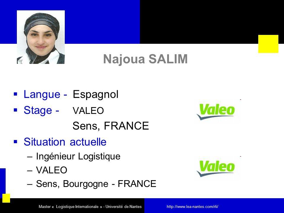Najoua SALIM Langue - Espagnol Stage - VALEO Sens, FRANCE Situation actuelle –Ingénieur Logistique –VALEO –Sens, Bourgogne - FRANCE Master « Logistiqu