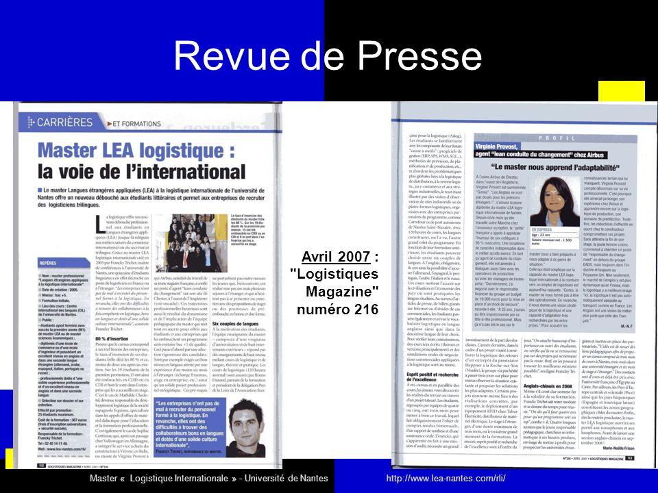 Revue de Presse Avril 2007 :