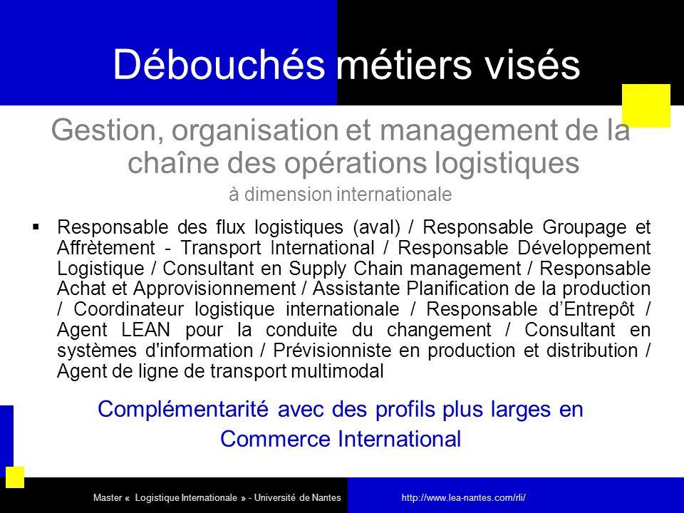 Débouchés métiers visés Gestion, organisation et management de la chaîne des opérations logistiques à dimension internationale Responsable des flux lo