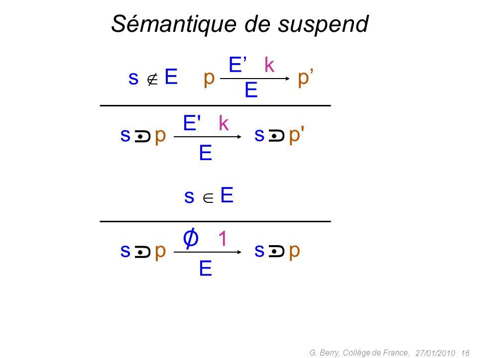 27/01/2010 16 G. Berry, Collège de France, Sémantique de suspend E E' k s p' U p E E k p s p U E s E O 1 s p U U E s /
