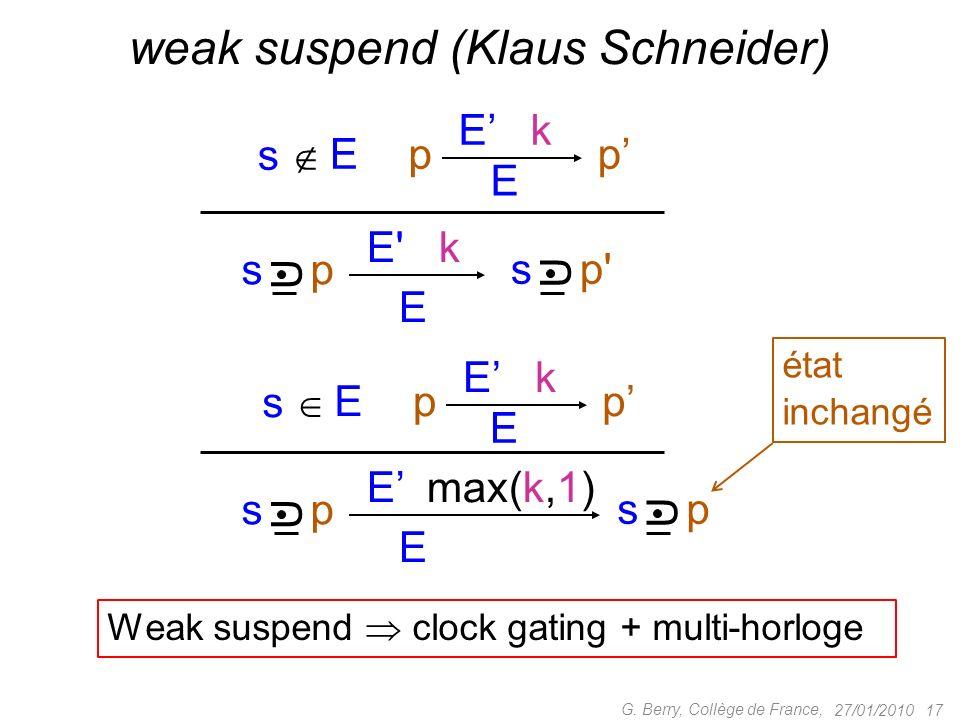 27/01/2010 17 G. Berry, Collège de France, weak suspend (Klaus Schneider) E E' k s p' U p E E k p s p U E s E E max(k,1) s p U U p E E k pE s état inc