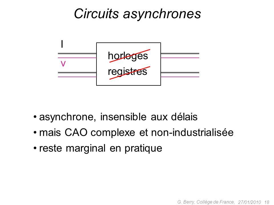 27/01/2010 18 G. Berry, Collège de France, Circuits asynchrones horloges registres I v asynchrone, insensible aux délais mais CAO complexe et non-indu
