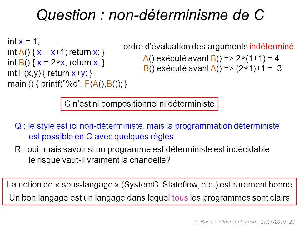 27/01/2010 23 G. Berry, Collège de France, Question : non-déterminisme de C int x = 1; int A() { x = x+1; return x; } int B() { x = 2 * x; return x; }