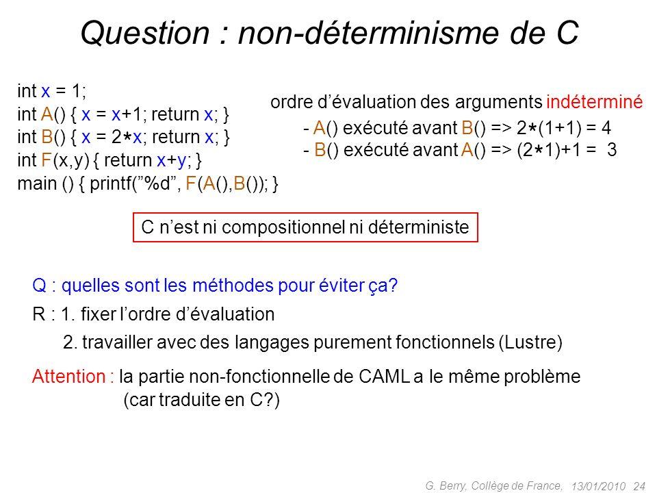 13/01/2010 24 G. Berry, Collège de France, Question : non-déterminisme de C int x = 1; int A() { x = x+1; return x; } int B() { x = 2 * x; return x; }