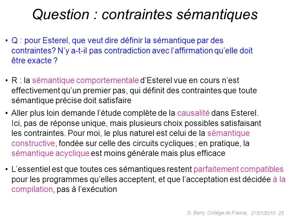 Q : pour Esterel, que veut dire définir la sémantique par des contraintes? Ny a-t-il pas contradiction avec laffirmation quelle doit être exacte ? 27/