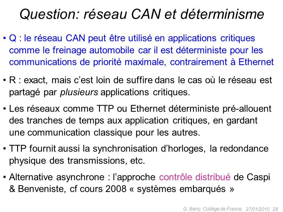 Q : le réseau CAN peut être utilisé en applications critiques comme le freinage automobile car il est déterministe pour les communications de priorité